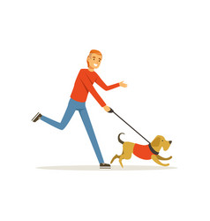 Happy red-haired man with dog on morning jogging vector