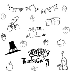 Happy Thanksgiving in doodle art vector