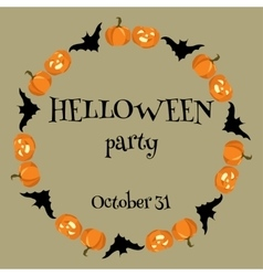 Helloween card wiht pumpkins and bats vector image