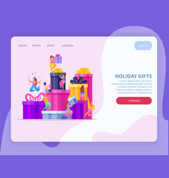 holiday gifts website background vector image