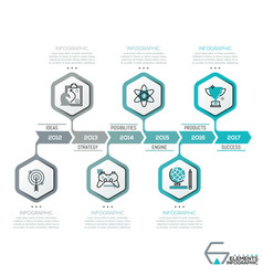 Horizontal timeline 6 hexagons with thin line vector
