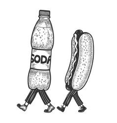 Hot dog and soda walks on its feet sketch vector