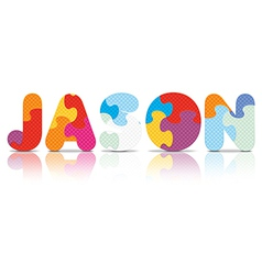 JASON written with alphabet puzzle vector