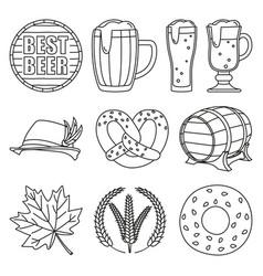 line art black and white 10 oktoberfest elements vector image