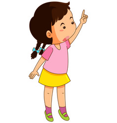 Little girl in pink shirt pointing up vector