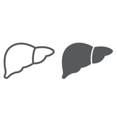 liver line and glyph icon anatomy and biology vector image