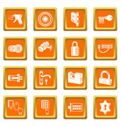 Lock door types icons set orange square vector