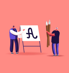 Male character writing letters on easel script vector