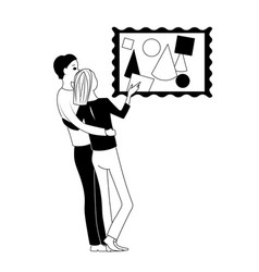 man and woman discuss a picture black vector image