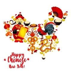 Map of China made up of Chinese New Year symbols vector