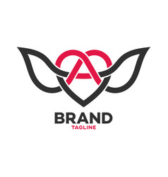 modern heart and wings logo vector image