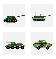 monochrome icon set with military equipment and ar vector image