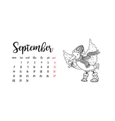 Monthly desk calendar template for month september vector