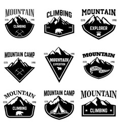 mountain camp emblem templates design element for vector image