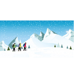 Mountain climbers with backpacks walking through vector