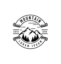 Mountain in badges logo design vector