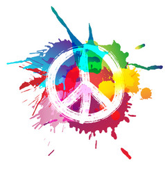 Peace sign in front colorful splashes vector