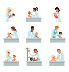 Pediatrician doctors doing medical examination of vector