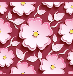 Pink seamless pattern with 3d sakura and leaf vector image