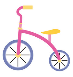 Pink tricycle on white background vector