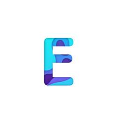 realistic paper cut letter e vector image
