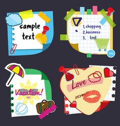 realistic sticky notes sheets with stickers vector image