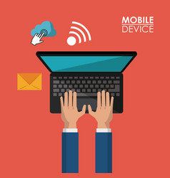 Red background poster of mobile device with hands vector