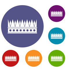 Regal crown icons set vector