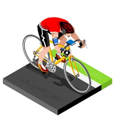 Road Cycling Cyclist Working Out 3D Isometric vector image