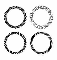 Rope frame set of round frames from nautical rope vector