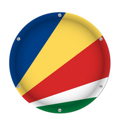 round metallic flag of seychelles with screws vector image