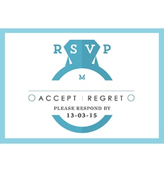 Rsvp wedding card blue ring theme vector
