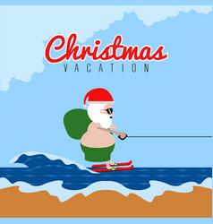 Santa claus doing water ski christmas vacation vector