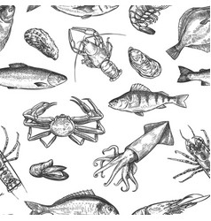 Seafood seamless pattern hand drawn lobster crab vector