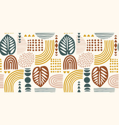 seamless pattern with abstract leaves and vector image