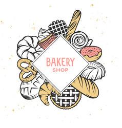 set bakery engraved elements typography design vector image