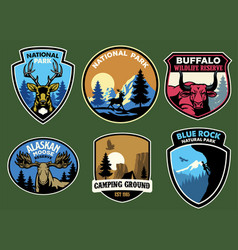 set bundle wild life badge collection vector image