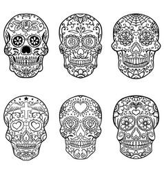 Set hand drawn sugar skulls day dead vector