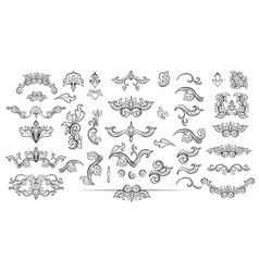 Set of black isolated sketches of floral vector