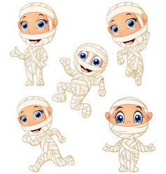 Set of kid wearing mummy costume character vector