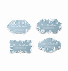 set of paper tags with blue christmas background vector image