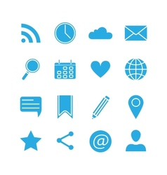 Silhouette social media icons set vector image