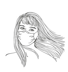 Sketch young teenage girl in medical face mask vector