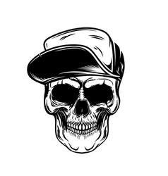 Skull in baseball cap design element for poster vector