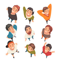 smiling people characters looking up set view vector image