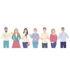 speaking men and women flat vector image