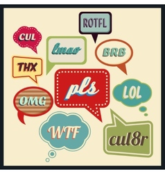 Speech bubbles with frequently used abbreviations vector image