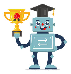 Success robot in competition vector
