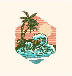 summer beach t-shirt graphic design vector image