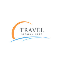 summer travel and tour agency logo design holiday vector image